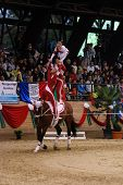 KAPOSVAR, HUNGARY - AUGUST 12: Denmark team in action at the Vaulting World Championship Final Augus