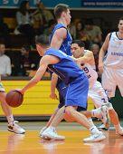 KAPOSVAR, HUNGARY - FEBRUARY 26: Tamas Markus (9) in action at a Hungarian National Championship bas