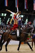 KAPOSVAR, HUNGARY - AUGUST 12: German team in action at the Vaulting World Championship Final on Aug