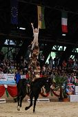 KAPOSVAR, HUNGARY - AUGUST 12: Slovakian competitors in action at the Vaulting World Championship Fi
