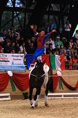 KAPOSVAR, HUNGARY - AUGUST 12: Lukas Wacher (AUT) in action at the Vaulting World Championship Final