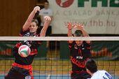 KAPOSVAR, HUNGARY - MARCH 6: Krisztian Csoma (L) blocks the ball at a Hungarian National Championshi