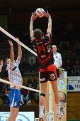 KAPOSVAR, HUNGARY - MARCH 6: Krisztian Csoma (14) posts the ball at a Hungarian National Championshi