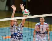 KAPOSVAR, HUNGARY - MARCH 18: Krisztian Csoma (L) blocks the ball at a Hungarian National Championsh