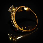Gold ring with diamond gem jewelry. Luxury jewellery bijouterie with crystal gemstone for people in  poster