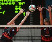 KAPOSVAR, HUNGARY - APRIL 3: Krisztian Csoma (L) blocks the ball at a Hungarian National Championshi