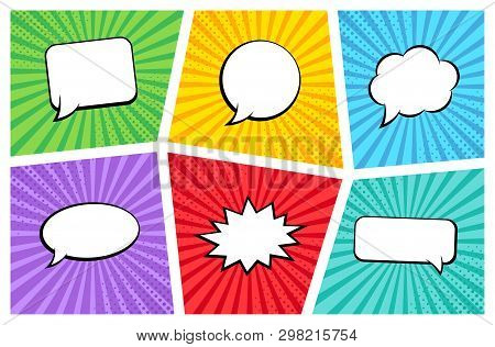 poster of Comic Rays With Speech Bubbles Set. Comic Superhero Bubble. Comics Page Layout. Rays, Radial, Halfto