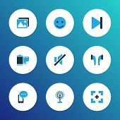 Multimedia Icons Colored Set With Emoji, Full Screen, Film And Other Gallery Elements. Isolated Vect poster