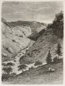 Reb river gorge old view. Created by Ciceri after Lejean, published on Le Tour du Monde, Paris, 1867