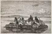 foto of babylon  - Kelek on Tigris river old illustration  - JPG