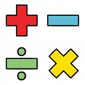 cute cartoon of a math symbols poster