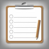 Checklist  form  holding on clip board with pencil.