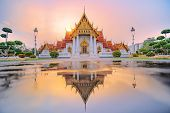 Marble Temple Of Bangkok, Thailand. The Famous Marble Temple Benchamabophit. Is A Popular Tourist De poster
