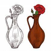 Sketch Of Wine Jug With Red Roses Vector Illustration. Flower Rose In Vase, Sketch Drawing Blossom poster