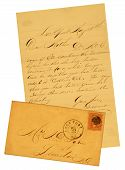 Old Letter And Envelope Dated 1865.