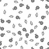 Geography And Astronomy Seamless Pattern Vector. Geography Earth Globe And Planet Saturn Monochrome  poster