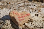 happy saint valentine's day on a stone heart