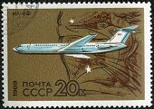 Ussr - Circa 1969: A Stamp Printed By Ussr Shows Long-range Jet Airliner Il-62, Circa 1969