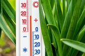 Measurement Of Air Temperature In The Street In Spring Or Summer. The Thermometer Shows A Temperatur poster