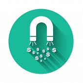 White Magnet With Money Icon Isolated With Long Shadow. Concept Of Attracting Investments, Money. Bi poster