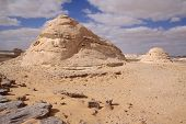 stock photo of calcite  - The monument and calcite hill in Whitte desert,Egypt