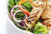 picture of souvlaki  - Chicken kebabs and green salad - JPG