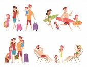 Summer Characters. Family Couple Travellers With Kids Going To Vacation At Beach Sea Or Ocean Tropic poster