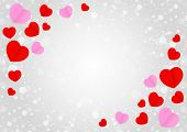 Empty Grey Frame And Red Pink Heart Shape For Template Banner Valentines Card Grey Background, Many  poster
