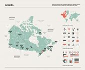 Vector Map Of Canada. High Detailed Country Map With Division, Cities And Capital Ottawa. Political  poster