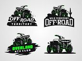 Set Of Atv Vehicle Logo And Emblems. All-terrain 4x4 Quad Illustration. poster