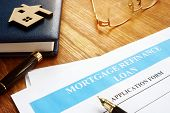 Mortgage Refinance Loan Application Form And Pen. poster