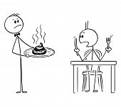 Cartoon Stick Figure Drawing Conceptual Illustration Of Waiter In Fancy Or Luxury Restaurant Serving poster