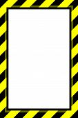 Warning Sign Yellow Black Stripe Frame Template Background Copy Space, Banner Frame Striped Awning Y poster