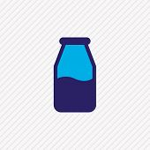 Vector Illustration Of Milk Bottle Icon Colored Line. Beautiful Food Element Also Can Be Used As Lac poster