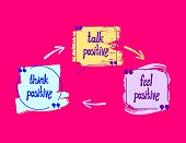 Vector Positive Lettering, Colorful Drawn Letterings On Bright Pink Background: Think Positive, Talk poster