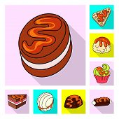 Vector Illustration Of Confectionery And Culinary Symbol. Collection Of Confectionery And Colorful V poster