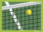 Tennis ball hit the net