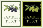 Labels with black and green olives for olive oil products, cosmetics etc.