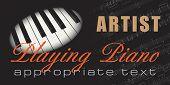 Plantilla musical con las teclas del piano, notas y campos de texto editables