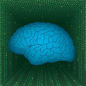 Human brain inside digital matrix