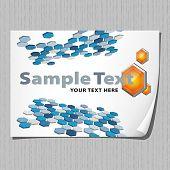 Folha de papel com fundo abstrato 3D, EPS8, CMYK