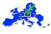 Voting In European Union Concept. Voting Green Check Mark Icon Over Shape Of European Union Map With poster