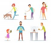Domestic Animals. Owners With Their Pets Cat Dog Parrot Happy Characters With Animals Vector Collect poster