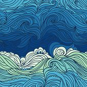 Seamless Waves Pattern. Abstract Water Background With Curly Hand-drawn Waves. Blue Tide Vector Back poster