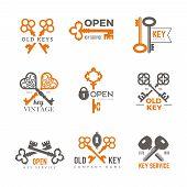 Key Logo. Real Estate Padlocks Emblems And Badges Elegant Vintage Ornate Keys Vector Pictures. Illus poster