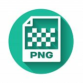 White Png File Document Icon. Download Png Button Icon Isolated With Long Shadow. Png File Symbol. G poster