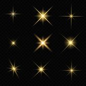 Set Of Glare Star Sparkling Or Twinkling poster