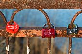 Love Locks On The Rusty Bridge Across Volga River Near Samara, Russia