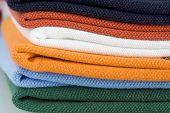 Colored polo shirt pile