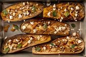 Vegan Italian Food. Baked Eggplants With Organic Herbs, Garlic, And Lactose-free Cheese, Shot From T poster